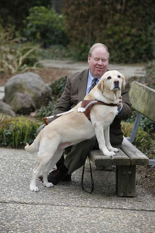 Michael and Roselle, a yellow lab guide dog, on a park bench