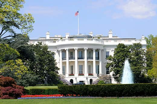 South side of the president's White House in Washington D.C.